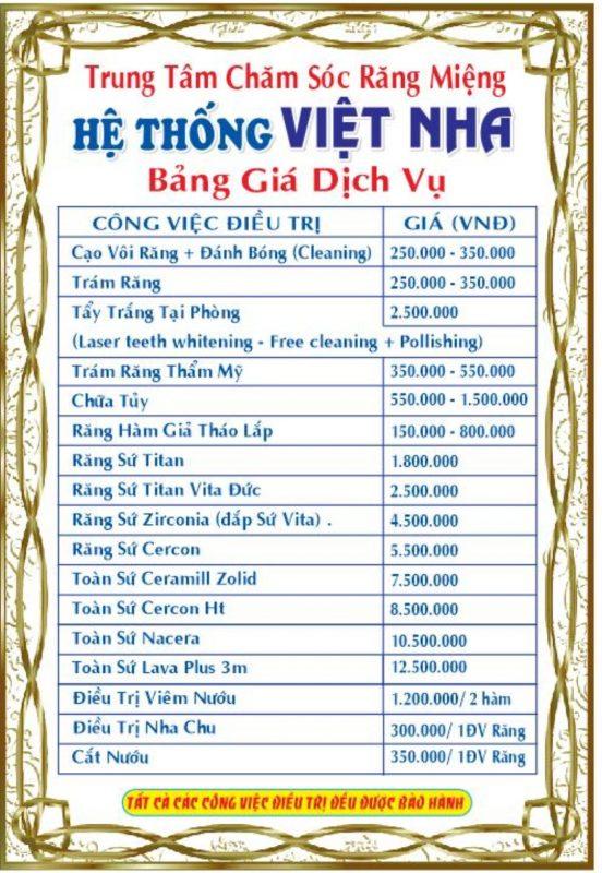 Bảng giá làm răng tại Nha Khoa Việt Nha